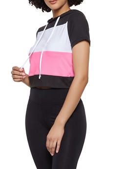 Hooded Color Block Activewear Top - 1058038347230