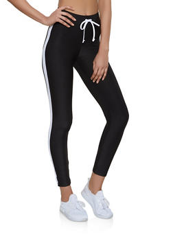 Soft Knit Drawstring Waist Leggings - 1058038347251