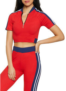 Varsity Stripe Half Zip Crop Top - 1058038347260