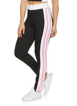 Soft Knit Varsity Stripe Leggings - 1058038347261