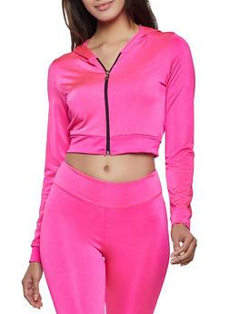 Cropped Spandex Zip Sweatshirt - 1058038347280