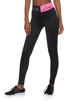 Love Graphic Waist Active Leggings - 1058038347501