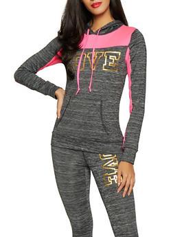 Love Color Block Activewear Sweatshirt - 1058038347530