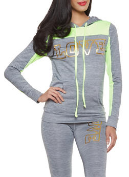 Love Color Block Activewear Sweatshirt - 1058038347530