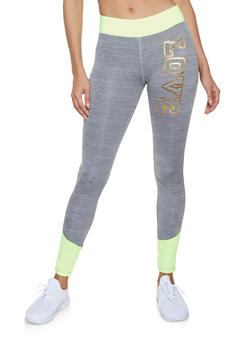 Foil Love Color Block Activewear Leggings - 1058038347531