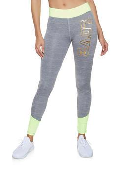Foil Love Color Block Activewear Leggings - 1058038347531