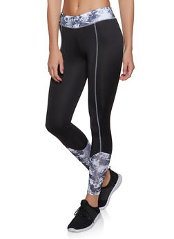 Printed Color Block Active Leggings - 1058038347571