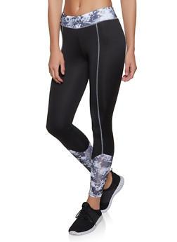 Printed Color Block Active Leggings - Black - Size M - 1058038347571