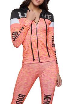City Graphic Color Block Activewear Top - 1058038347610