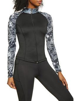 Color Block Activewear Zip Front Top - 1058038347630