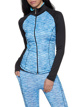 Color Block Activewear Zip Front Top - 1058038347630