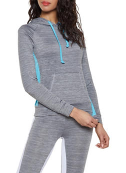 Color Block Hooded Activewear Top - 1058038347670