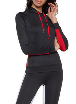 Color Block Hooded Activewear Top - 1058038347670