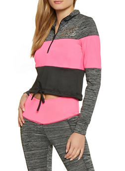 NYC Cropped Color Block Active Top - 1058038347740