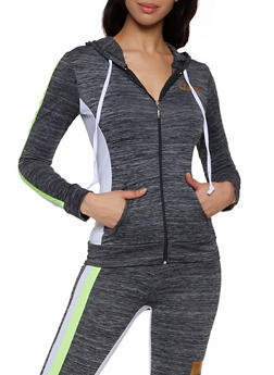 Love Zip Front Hooded Active Top - 1058038347760