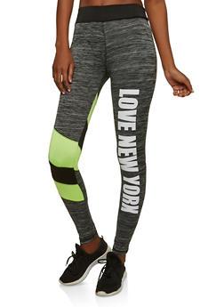 Love NY Graphic Active Leggings - 1058038348131