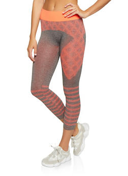 Printed Contrast Waistband Active Leggings - 1058069022853