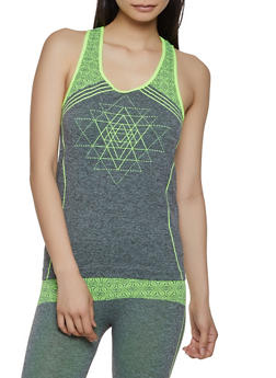 Two Tone Printed Active Tank Top - 1058069022854