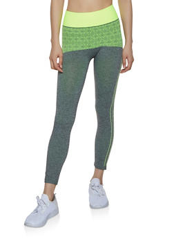 Two Tone Printed Active Leggings - 1058069022855