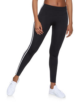 Fleece Lined Varsity Stripe Leggings - 1059051064122