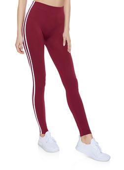 Fleece Lined Varsity Stripe Leggings - 1059051064122
