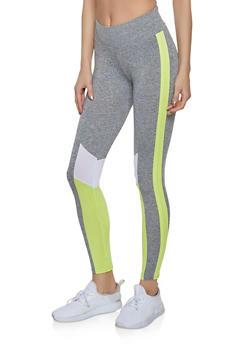 Color Block Detail Active Leggings - 1059051064220