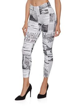 Soft Knit Newspaper Print Leggings - 1059061356335