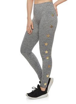 Pintuck Star Print Leggings - 1059061630061