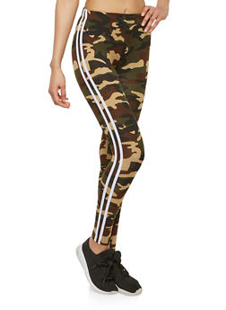 Soft Knit Varisty Stripe Camo Leggings - 1059061632050