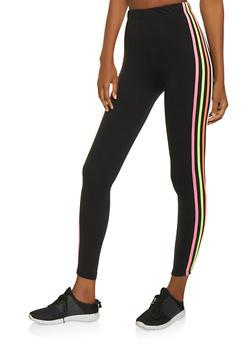 Neon Stripe Soft Knit Leggings - 1059061633580