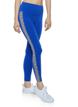 Geometric Tape Trim Leggings - 1059061633610