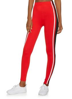 Striped Detail Soft Knit Leggings - 1059061633630