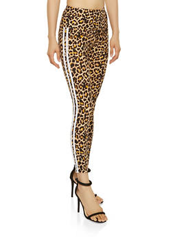 Varsity Stripe Cheetah Leggings - 1059061635602