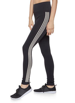Striped Detail Leggings - 1059061636421
