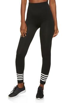 Striped Detail Seamless Leggings - 1059062900990