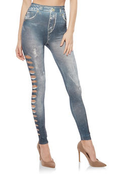 Slashed Side Denim Print Leggings - 1059062903300