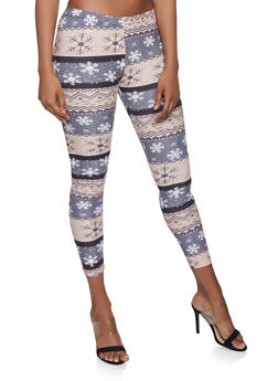 Snowflake Print Soft Knit Leggings - 1059062906076