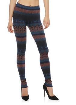 Terry Lined Aztec Print Leggings - 1059062906701