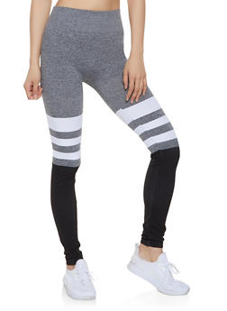 Color Block Striped Detail Leggings - 1059062907137