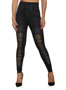 Fishnet Insert Jean Print Leggings - 1059062908085