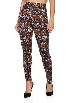 Printed Fleece Lined Leggings - 1059062908126