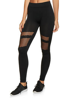 Fishnet Detail Leggings - 1059062908163