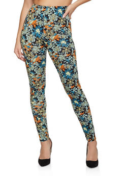 Floral Printed Soft Knit Leggings - 1059062908176