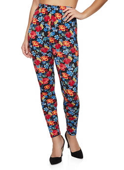 Floral Print Fleece Lined Leggings - 1059062908178