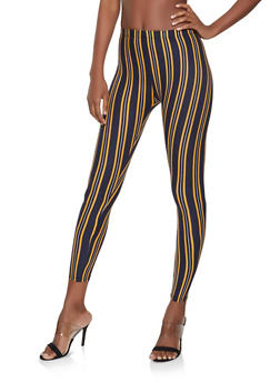 Navy Striped Leggings - 1059062908199