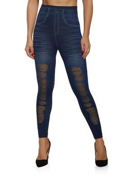 Mesh Insert Jean Print Leggings - 1059062908502