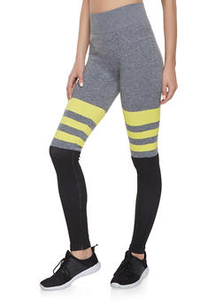 Striped Color Block Leggings - 1059062908531