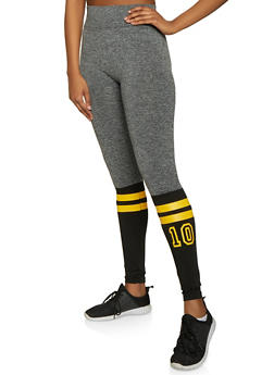 Marled Color Block Graphic Leggings - 1059062908532