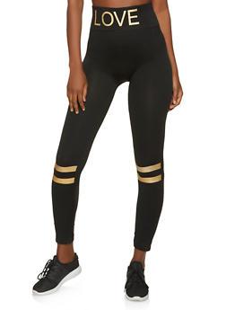 Striped Detail Love Leggings - 1059062909015