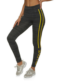 Side Stripe Love Detail Leggings - 1059062909183